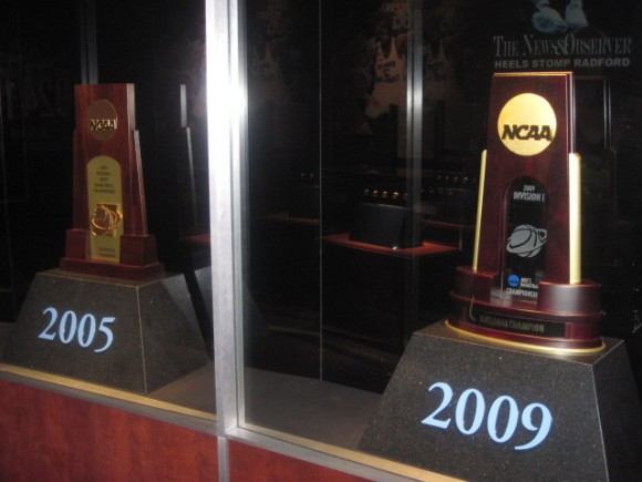 UNC basketball NCAA trophies