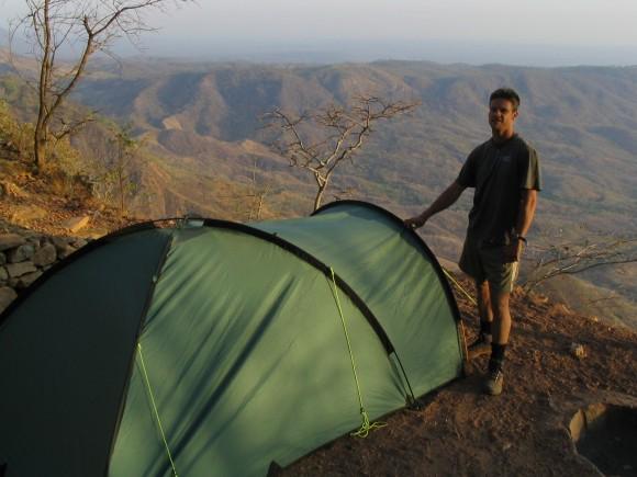 Craig camping on the escarpment, Malawi 2002