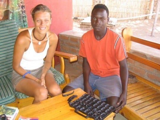 Playing Bowa in Malawi