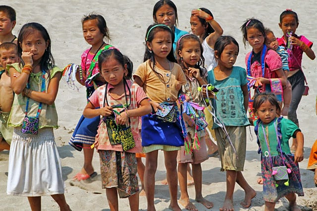 Hmong Children meet boat northern Laos