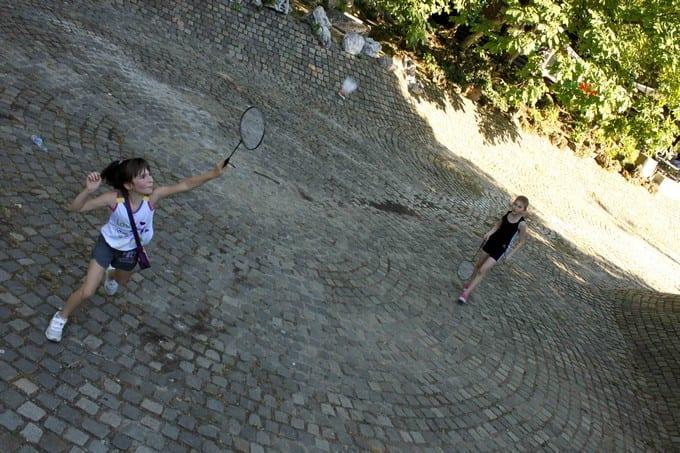 Girls Playing Badminton Sofia Bulgaria