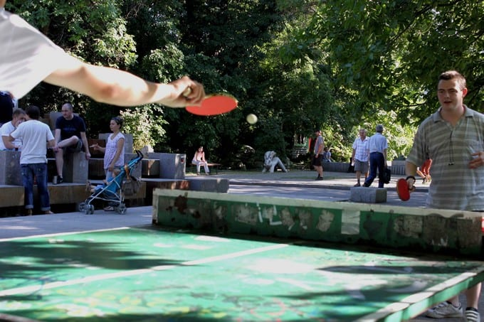 Youngs playing Ping Pong in the Park Sofia bulgaria