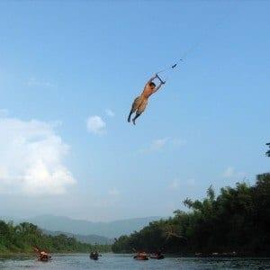river tube swing Vang Vieng Laos