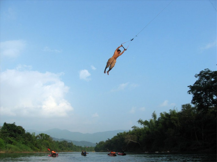 river tube swing Vang Vieng Laos