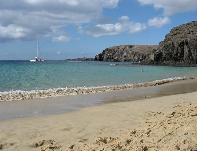 Catamran sailing Papagayo on Lanzarote