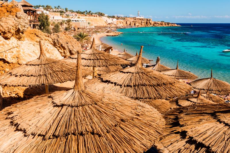 Egyptian sunbeds on the beach,    Sharm El Sheikh,  Egypt