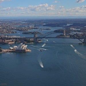 helicopter flight over Sydney Harbour