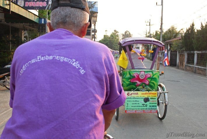 purply tricycle ride Chaing Rai