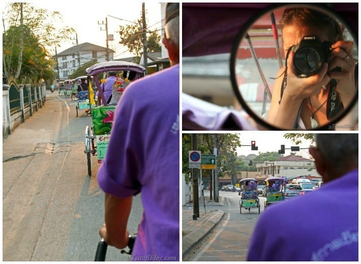 purple tricycle ride Chiang Rai Thailand