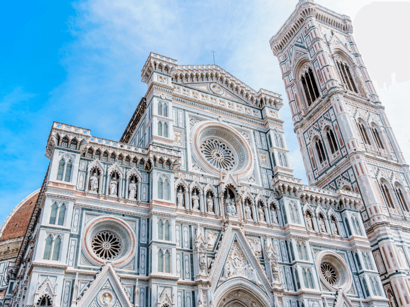 Visiting the Duomo in Florence.