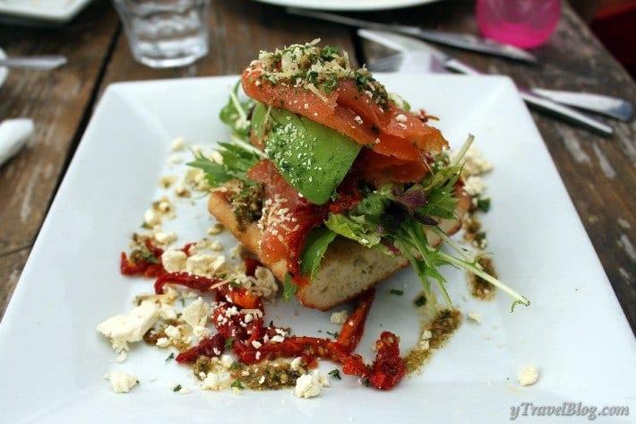Smoked salmon, sun-dried tomato, feta on a pesto ciabatta
