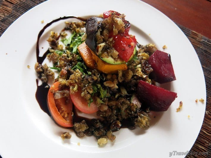 Veggie stack with nut mince