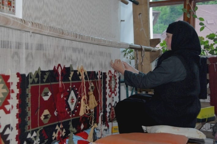 Nun working the loom Transylvania