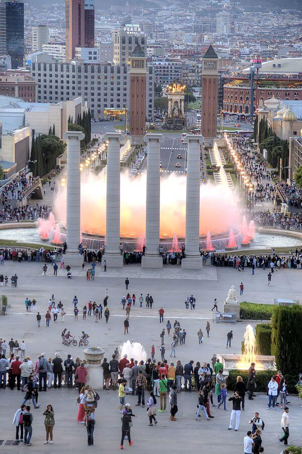 Magic Montjuic Fountains in Barcelona, Spain