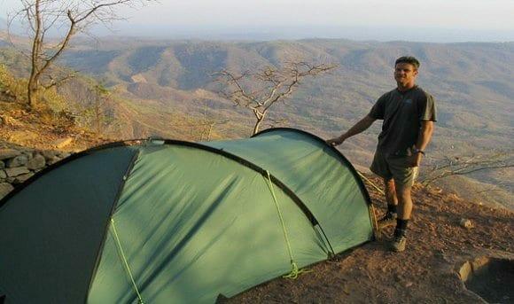Campsite overlooking the escarpment in Malawi