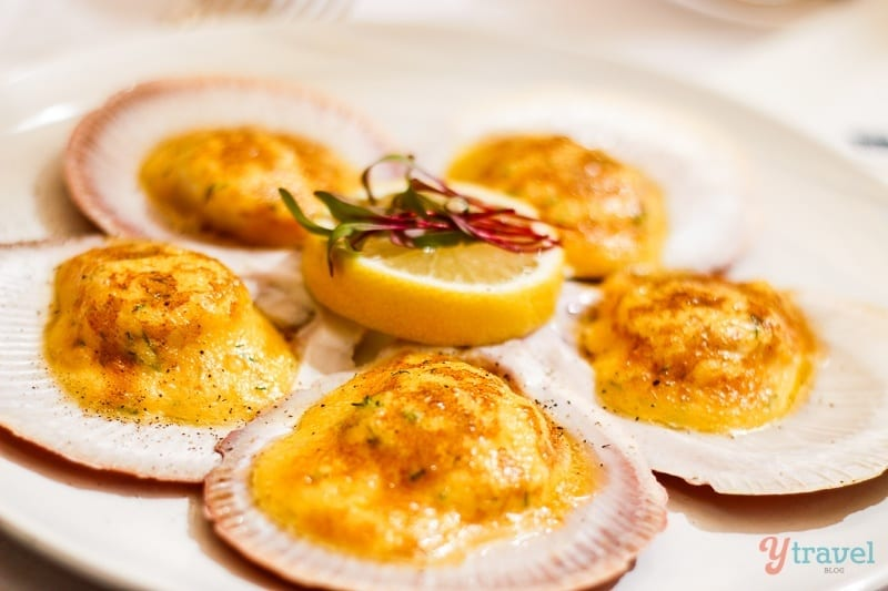 Hervey Bay sea scallops with dill, cream, pernod and hollaidaise gratin