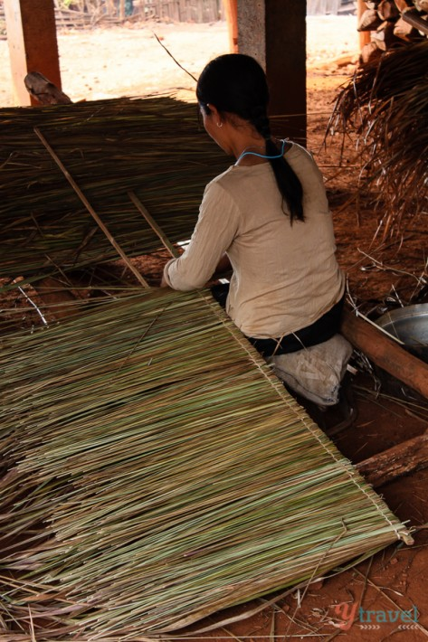 weaving grass hill tribe people Thailand