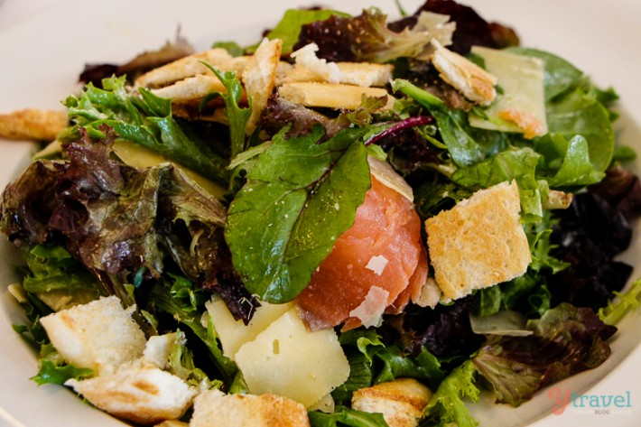 ceasar salad with smoked salmon, Tasmania, Australia