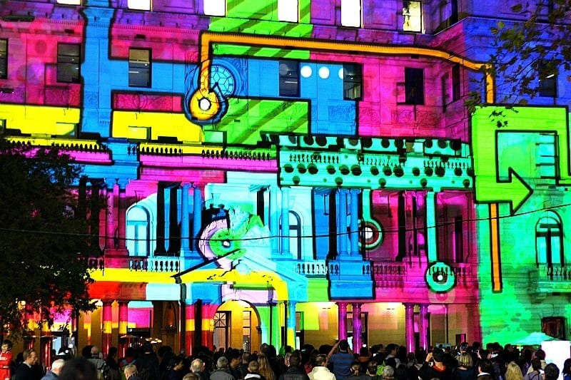 Customs House in Sydney during the Vivid Sydney Festival