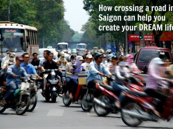 crossing the road in Saigon
