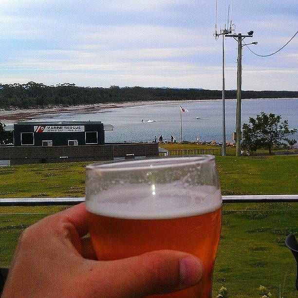 Sunset beer at the Husky Pub, Jervis Bay, Australia