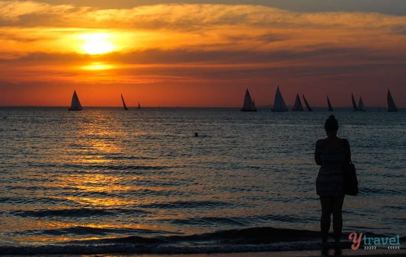 Sunset on St Kilda Beach, Melbourne