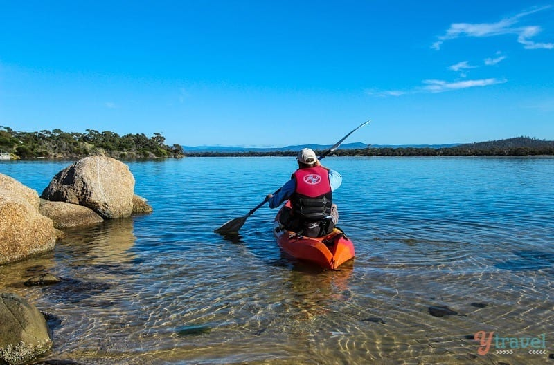 Kayaking in the Swan River, Coles Bay, Tasmania