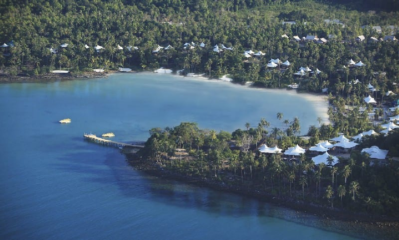 Soneva Kiri Bay from the air