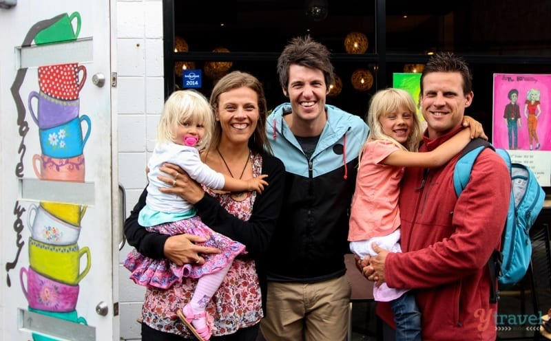 with Ben Milbourne outside Laneway Cafe in Devonport