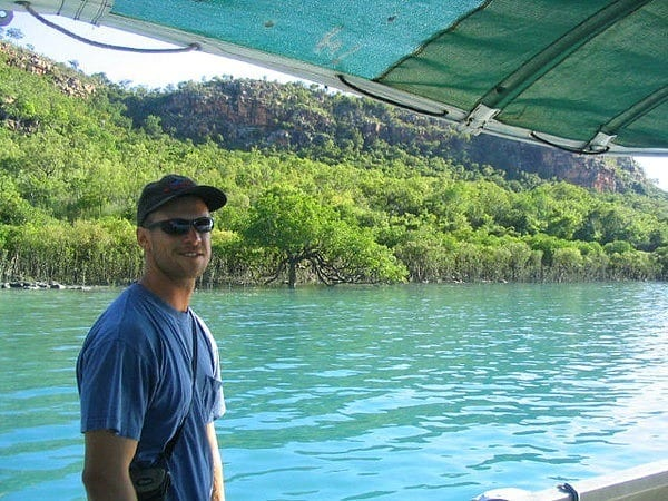 Craig on the Pearl boats in Kuri Bay