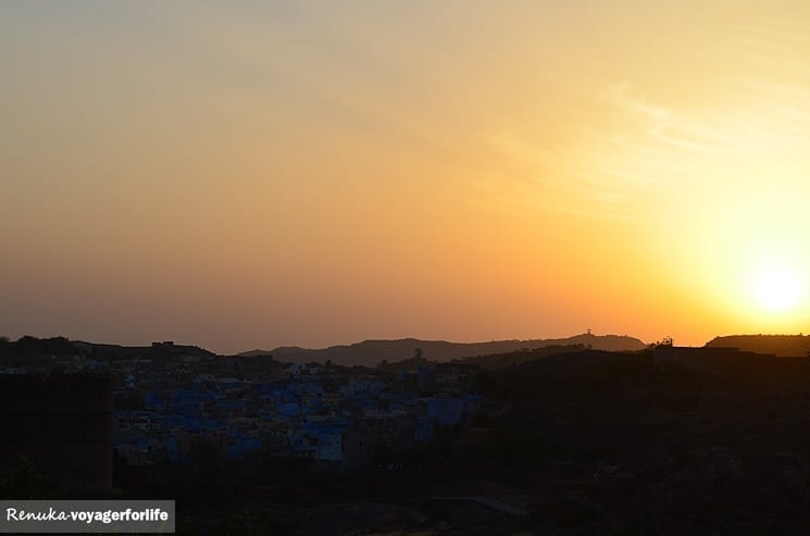 Sunset over the Blue City in Jodhpur