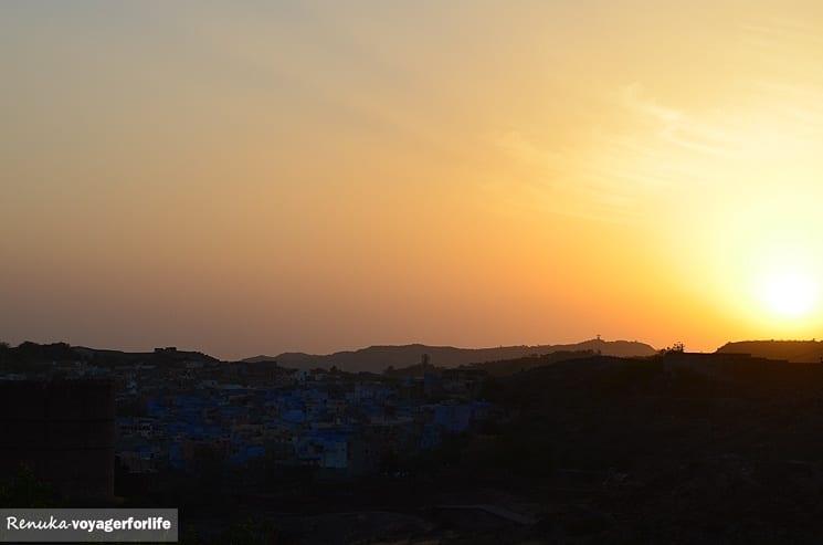 Coucher de soleil sur la ville bleue de Jodhpur