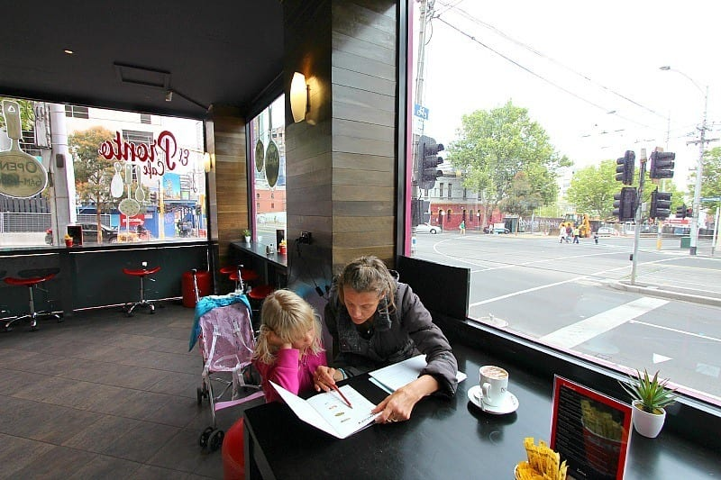 Homeschooling in a cafe in Melbourne