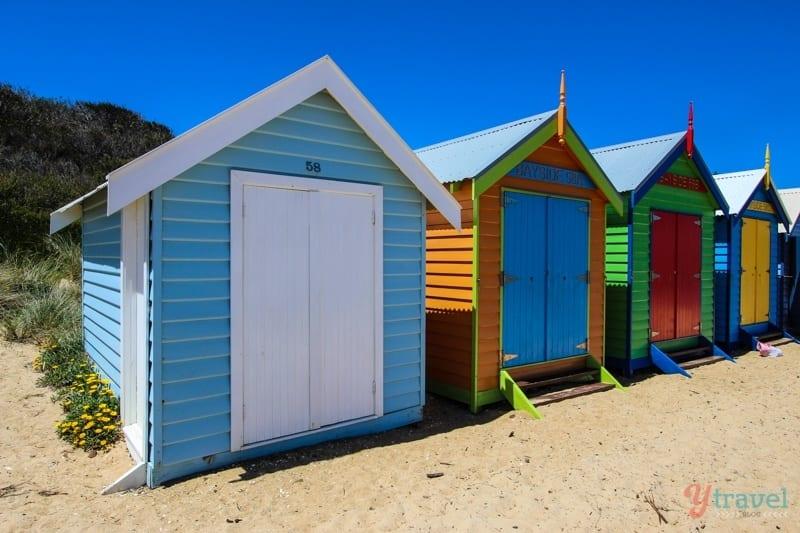 Colorful bathing Boxes Brighton Beach Melbourne