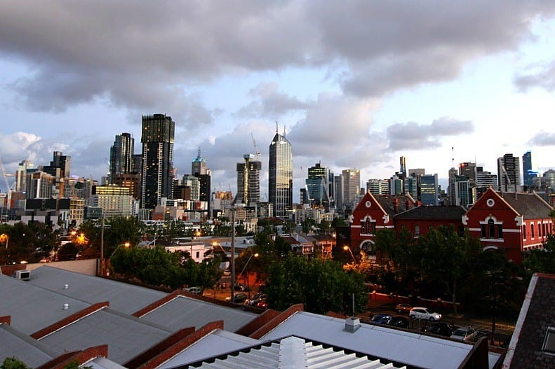 view from rooftop terrace at the Metro YHA Melbourne