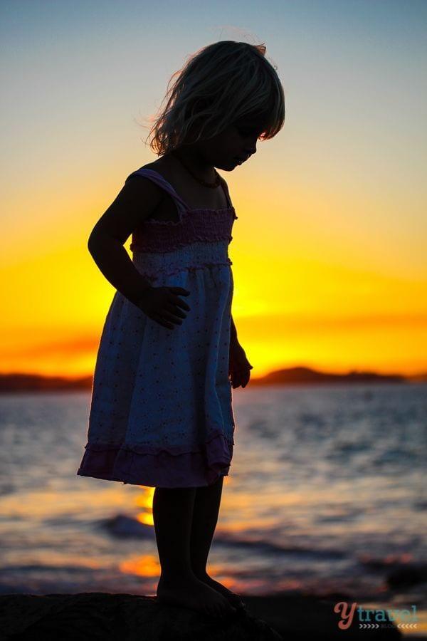 Sunset silhouette at Rainbow Bay, Gold Coast, Australia