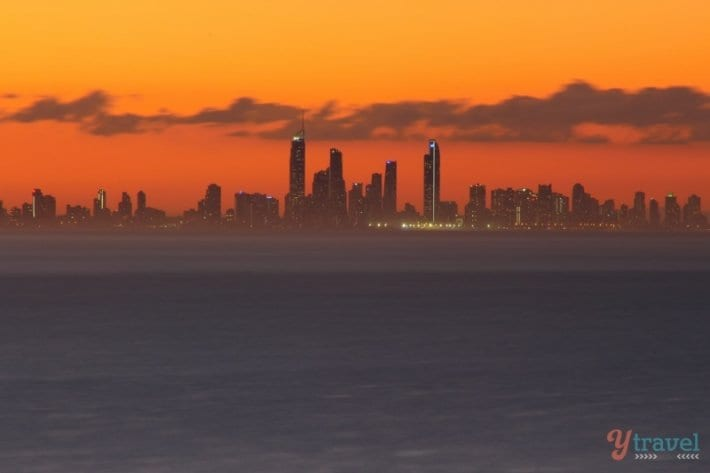 Susnet over Surgers Paradise - from Mantra Coolangatta Beach - Queensland, Australia