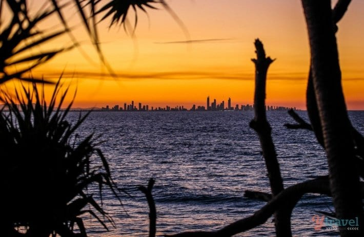 Susnet over Surfers paradise from Rainbow Bay