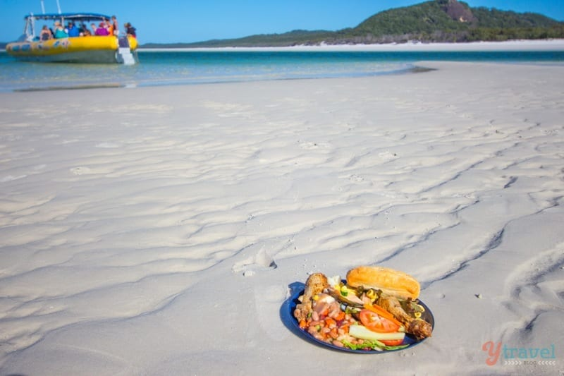 Lunch on Whitehaven Beach, Queensland, Australia