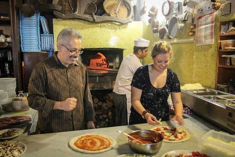 Cooking pizzas in Italy, as you do!