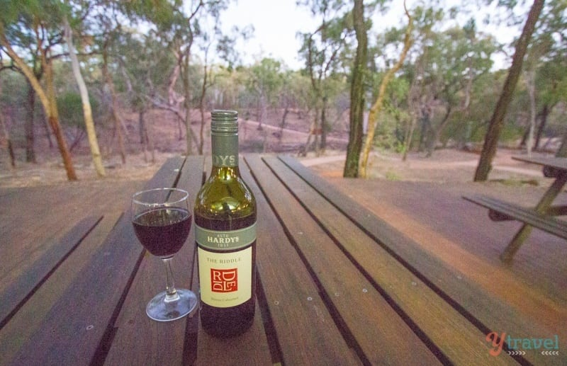 Wine o'clock at Undara Lava Tubes - Queensland, Australia