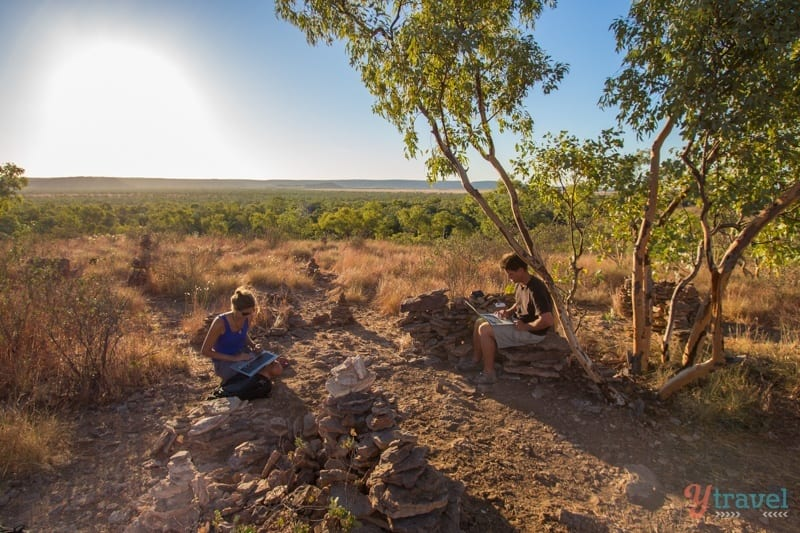 blogging from the hill at Adels Grove in Outback Queensland