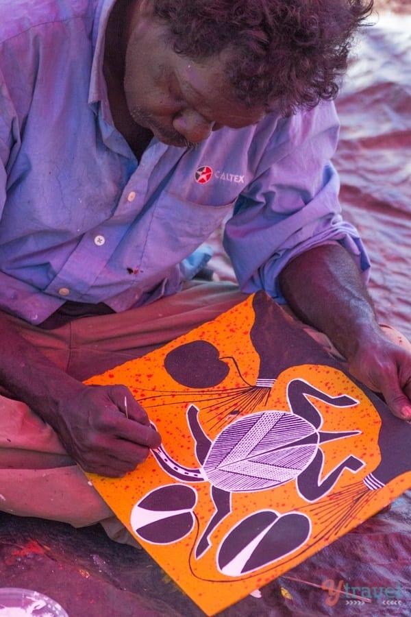 Aboriginal Artist - Kakadu National Park, Northern Territory, Australia