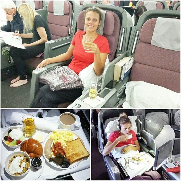 Qantas Business Class flight from LA to Sydney
