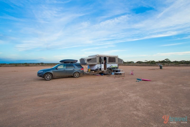 This was our powered-site at a roadhouse on the Nullarbor