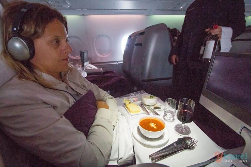 Enjoying Qantas Business Class flight from Australia to USA