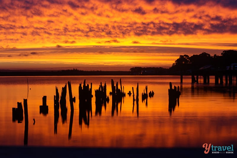 Magnificent sunset in Strahan, Tasmania, Australia.