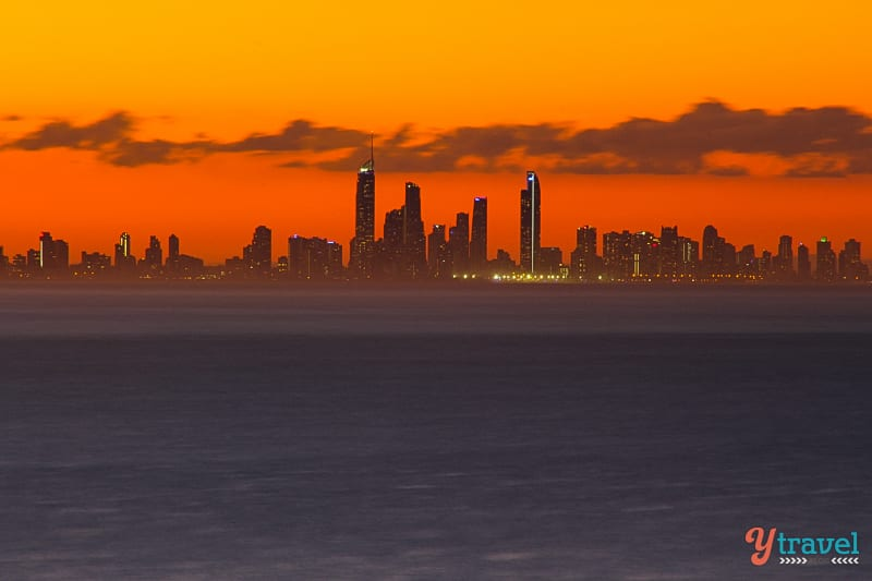 Sunset overlooking Surfers Paradise in Queensland, Australia