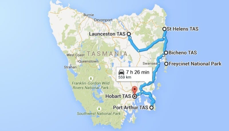 East Coast Tasmanian Road Trip map