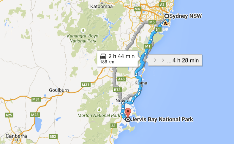 South Coast Road Trip Map